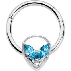 16 Gauge 3/8 Aqua Gem Alien Hinged Circular Ring - Surgical Grade Stainless Steel Septum From Body Candy found on Bargain Bro India from Body Candy for $14.99