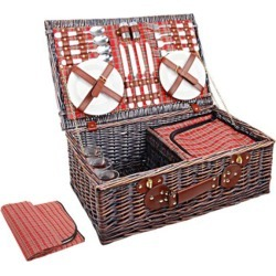 4 Person Picnic Basket Red Handle Outdoor found on Bargain Bro from Simply Wholesale for USD $79.53