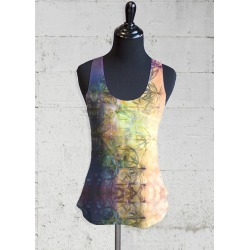 Printed Racerback Top - Cannabis Athletic Top in Rainbow by VIDA Original Artist