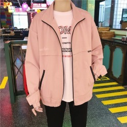 Costbuys  Youth Spring And Autumn Japanese Fashion Trend Campus Wind Boys Casual Loose Wild Solid Color Collar Jacket - roses /