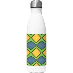 Water Bottle - Why Not in Brown/Green/Yellow by VIDA Original Artist