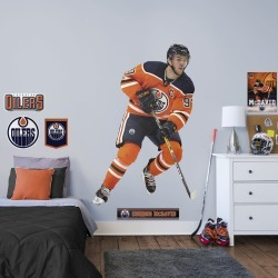 """Connor McDavid for Edmonton Oilers - Officially Licensed NHL Removable Wall Decal Life-Size Athlete + 7 Decals (49""""W x 76""""H) by"""