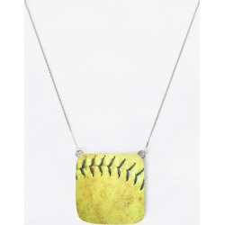 Oversized Square Pendant - Softball in Brown/Yellow by VIDA Original Artist found on Bargain Bro India from SHOPVIDA for $50.00