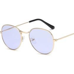 Costbuys  Sunglasses Women Round Summer Classic Sunglases Metal Frame Trends Fashion Glasses women's sunglass 90s glass - C02