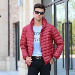 Costbuys  White Duck Down Jacket Men Autumn Winter Warm Coat Men's Light Thin Duck Down Jacket Coats - Red / S