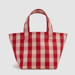 Costbuys  Famous women bag new simple lattice runway bag Tote pack large capacity portable shopping bag Top-Handle Bags - red sm