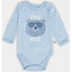 Blue Free Hugs Bear Print Baby Bodysuit