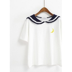 Costbuys T Shirt Tee Embroidery Cute Tops T shirt Female Summer Fashion T-shirt - white / One Size