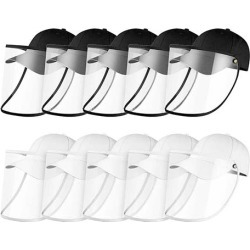 10X Outdoor Hat Anti Fog Dust Saliva Cap Face Shield Adult Black White