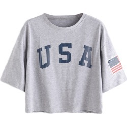 Costbuys T shirts Women Summer Tee Shirt Casual Top Female Grey Letter Print Short Sleeve Drop Shoulder T-shirt - Gray / M