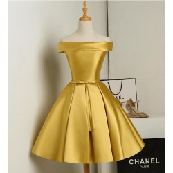 Costbuys  Women Fashion Evening Dress Satin Drill Short Party Gown Formal Dress Bow-tie Sashes Special Occasion Dresses - Gold /