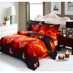 Costbuys Luxury 3D Fire Butterfly Print Bedding Set King Queen Duvet Cover Pillowcase Bed Sheet bed linens ropa de cama - JXB3D
