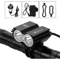 Costbuys  1600 Lm X2 led Bike Bicycle Light Lamp Headlight Rechargeable Flashlight 18650 Battery Accessories for bicycle - Red