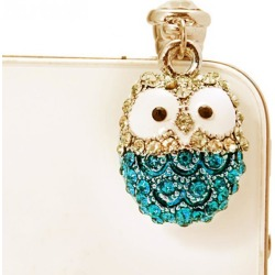 Costbuys  Lovely Big Eyes Owl Diamond Dust Plyg Diamond Pendants Phone Accessories Universal Cell Phone Dust Plug - Pink