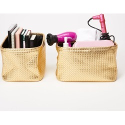 Woven Bins - Set of 2 - Gold | Storage