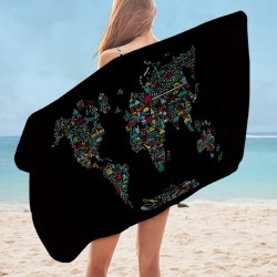 Unique World Map Microfiber Beach Towel found on Bargain Bro India from Simply Wholesale for $35.29