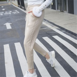 Costbuys  Winter Lace-up Elastic Women Trousers Side Twist Loose Pants Warm Thicken Stretchable Knitted - apricot