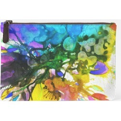Carry-All Pouch - Carry All Blossoming 114 in Blue/Green/Purple by VIDA Original Artist