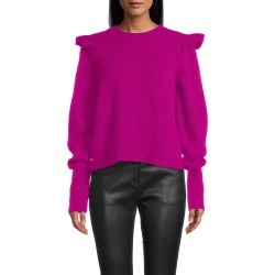 Nicole Miller Cashmere Puff Sleeve Jewel Neck Sweater In Fuchsia | Size Petite found on MODAPINS from Nicole Miller for USD $330.00