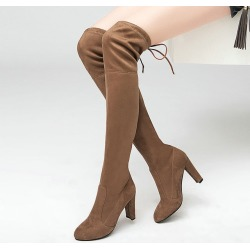 Costbuys  Women Stretch Faux Suede Thigh High Boots Over the Knee Boots High Heels Woman Shoes Black Gray - Nude / 10 found on Bargain Bro India from cost buys for $203.99