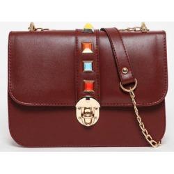 Gold Chain Strap Colourful Studs Dark Red Handbag