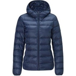 Women's Lightweight Slim-fit Down Jacket, Navy / S / With cap