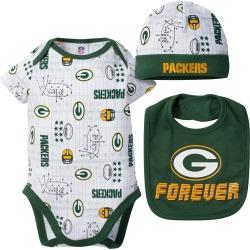Packers Baby Boy Bodysuit, Cap and Bib Set - 3-6M