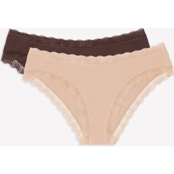 Lace Trim Cheeky Panty 2 Pack Brush/Root Beer