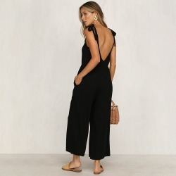 ca3d821a309 Costbuys Boho Cotton Jumpsuit Rompers Womens Summer Backless Jumpsuit Wide  Leg Pants Black Playsuit Casual Overalls