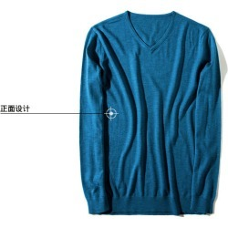 Costbuys  autumn and winter men's V-neck sweater 100% cotton fashion of the solid color fashion men sweater - 02 / S