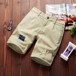 Costbuys  Mens shorts casual pure shorts men cotton fashion short male elastic trend short men - light khaki / XXL