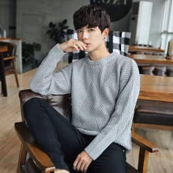 Costbuys  Style men's fashion casual knitwear high quality fashion neck Pullover solid men long sleeved sweater M-2XL - Gray / M