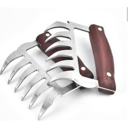 Stainless Steel Meat Shredding Claws with Wooden Handles