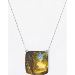Oversized Square Pendant - Rubino Forest And Light in Brown/Yellow by Tony Rubino Original Artist found on Bargain Bro India from SHOPVIDA for $60.00