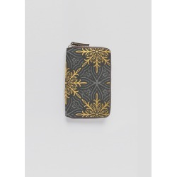 Leather Zip-Around Wallet - Golden Snowflakes in Brown/Green/Orange by Haris Kavalla Original Artist found on Bargain Bro India from SHOPVIDA for $115.00