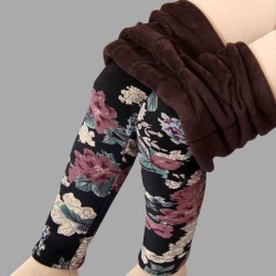 Costbuys  Velvet  leggings women autumn and winter Print Flower Warm pants - black random / L found on Bargain Bro India from cost buys for $85.99