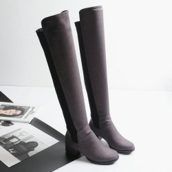 Costbuys  Winter Women's Flat Knee High Boots Knight Boots Patchwork Slip-on Long Boots Tall Boots Shoes for Women - Gray / 10