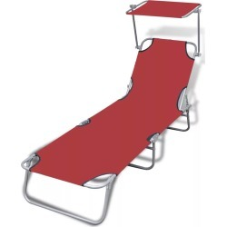 Outdoor Sunlounger Foldable With Canopy Red 189 x 58 x 27 Cm