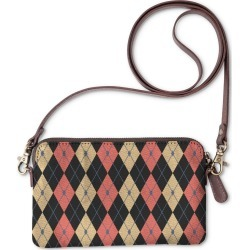 Statement Clutch - Rhombus Color Comb. 12 in Brown/Orange/Plaid by VIDA Original Artist