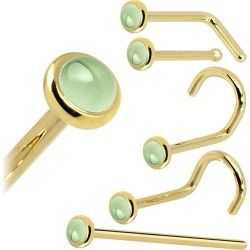 Solid 14KT Yellow Gold (August) 2mm Genuine Peridot Nose Ring, 18 Gauge L - Shaped - Stone Nose Ring Screw found on Bargain Bro Philippines from Body Candy for $72.99