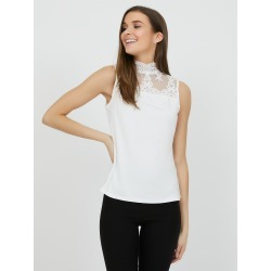Embroidered Crochet Mock Neck Top, Pearl / X-Small