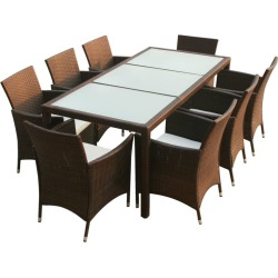 Garden Furniture Poly Rattan Set (17 Pcs)