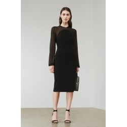 Sheer Sleeve Fitted Dress In Black - 12 found on Bargain Bro UK from Victoria Beckham (UK)