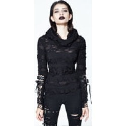 Costbuys Punk T-shirt Women Hollow Out Hooded Black t shirts Cool Belt Sleeves Steampunk T-shirts - Black / S