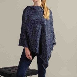 Hand Woven Navy and Grey Herringbone Cashmere Poncho found on Bargain Bro from black.co.uk for £180