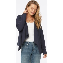 NYDJ Women's Open Front Sweatshirt Jacket in Oxford Navy, Regular, Size: XS | Cotton found on Bargain Bro India from NYDJ for $89.00