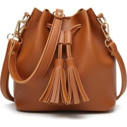 Costbuys  Women's Bag Fringe Small Bags Fashion Handbags Casual Messenger Shoulder Bags - Light Brown / 20cmX11X19cm