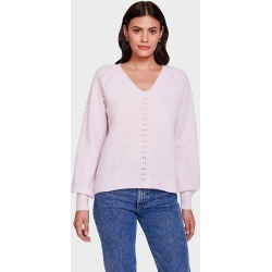 White + Warren Cashmere Puff Sleeve V Neck Sweater in Bloom Pink size Large