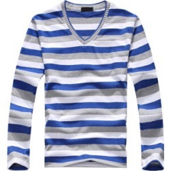 Costbuys  men's long-sleeved cotton stripes sweater fashion and pullover men of Wholesale - White and Blue / L