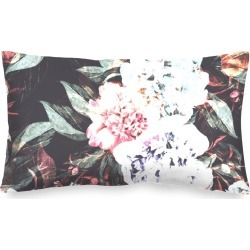 Oblong Pillow - Dark Floral Abstract in Pink/White by Always Seek Original Artist